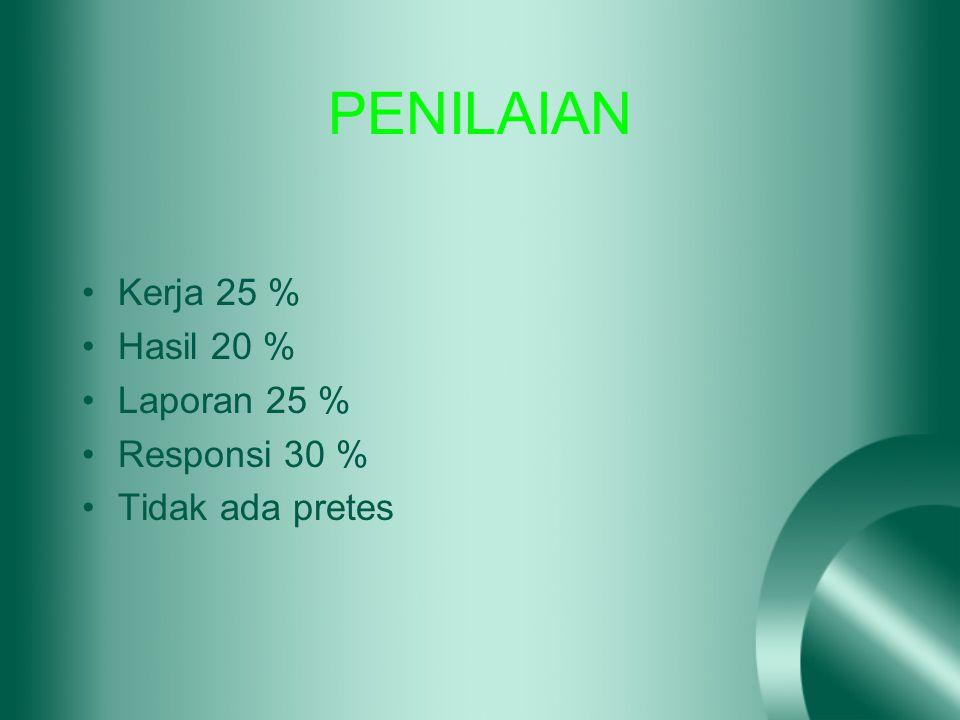PENILAIAN Kerja 25 % Hasil 20 % Laporan 25 % Responsi 30 % Tidak ada pretes