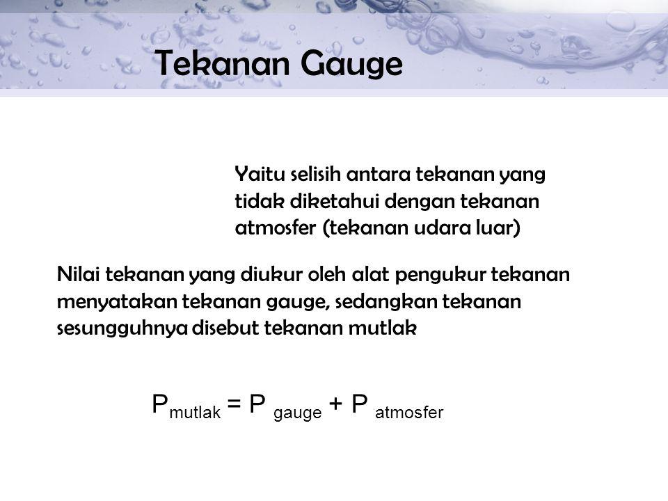 Tekanan Gauge Yaitu selisih antara tekanan yang tidak diketahui dengan tekanan atmosfer (tekanan udara luar) Nilai tekanan yang diukur oleh alat pengu