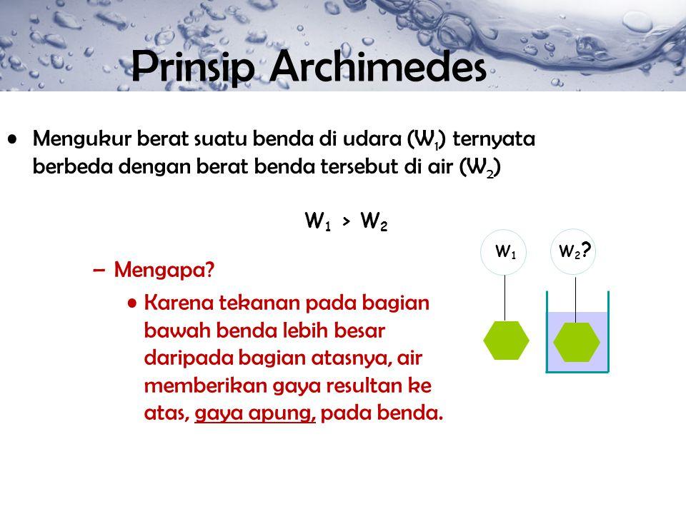 Mengukur berat suatu benda di udara (W 1 ) ternyata berbeda dengan berat benda tersebut di air (W 2 ) W2?W2? W1W1 W 1 > W 2 –Mengapa? Karena tekanan p