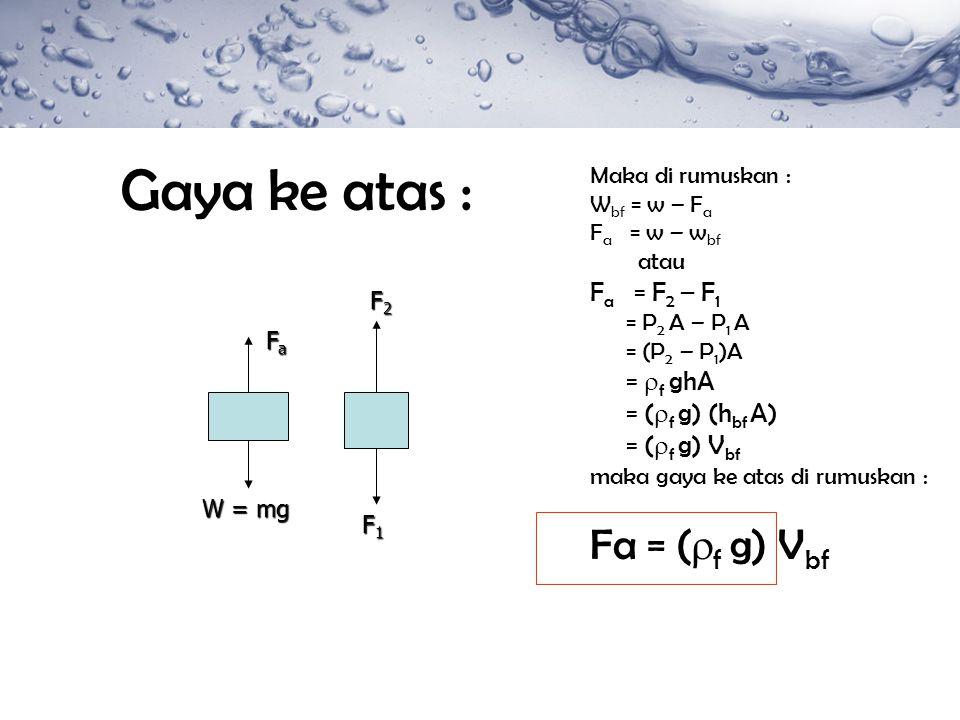 Gaya ke atas : Maka di rumuskan : W bf = w – F a F a = w – w bf atau F a = F 2 – F 1 = P 2 A – P 1 A = (P 2 – P 1 )A =  f ghA = (  f g) (h bf A) = (