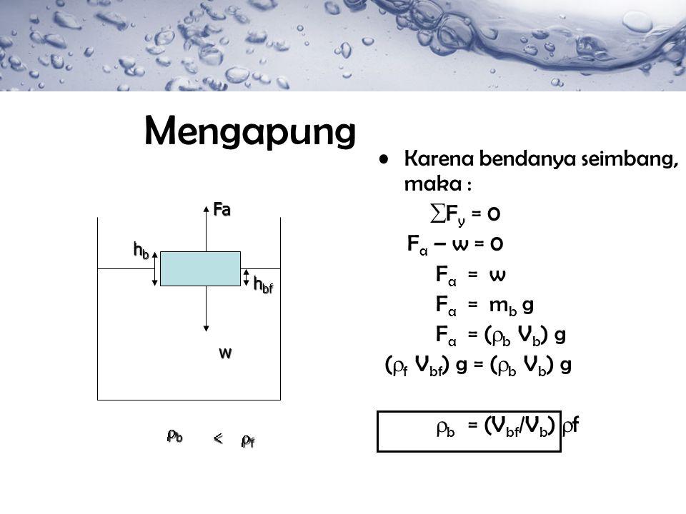 Mengapung Karena bendanya seimbang, maka :  F y = 0 F a – w = 0 F a = w F a = m b g F a = (  b V b ) g (  f V bf ) g = (  b V b ) g  b = (V bf /V