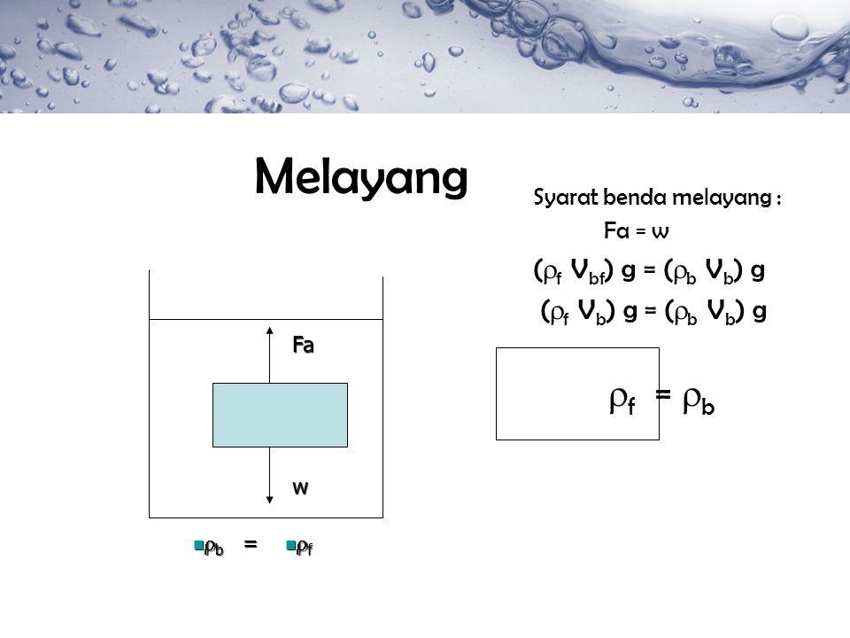 Melayang Syarat benda melayang : Fa = w (  f V bf ) g = (  b V b ) g (  f V b ) g = (  b V b ) g  f =  b Fa w  b  b  f  f=