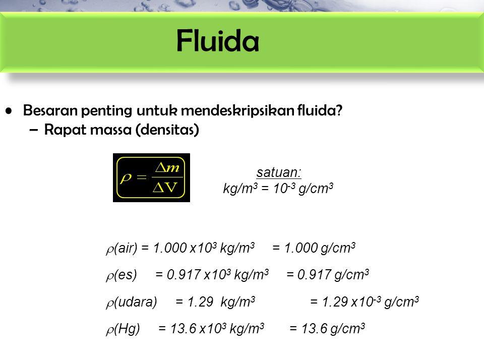Fluida Besaran penting untuk mendeskripsikan fluida? –Rapat massa (densitas) satuan: kg/m 3 = 10 -3 g/cm 3  (air) = 1.000 x10 3 kg/m 3 = 1.000 g/cm 3