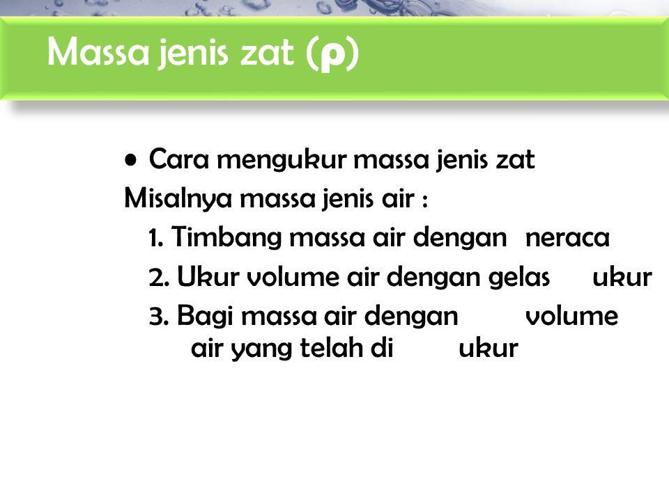 Massa jenis zat ( ρ ) Cara mengukur massa jenis zat Misalnya massa jenis air : 1. Timbang massa air dengan neraca 2. Ukur volume air dengan gelas ukur