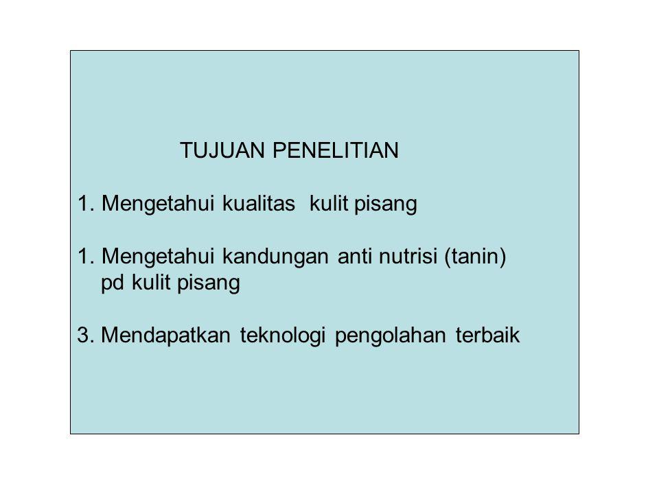 TUJUAN PENELITIAN 1.Mengetahui kualitas kulit pisang 1.Mengetahui kandungan anti nutrisi (tanin) pd kulit pisang 3. Mendapatkan teknologi pengolahan t