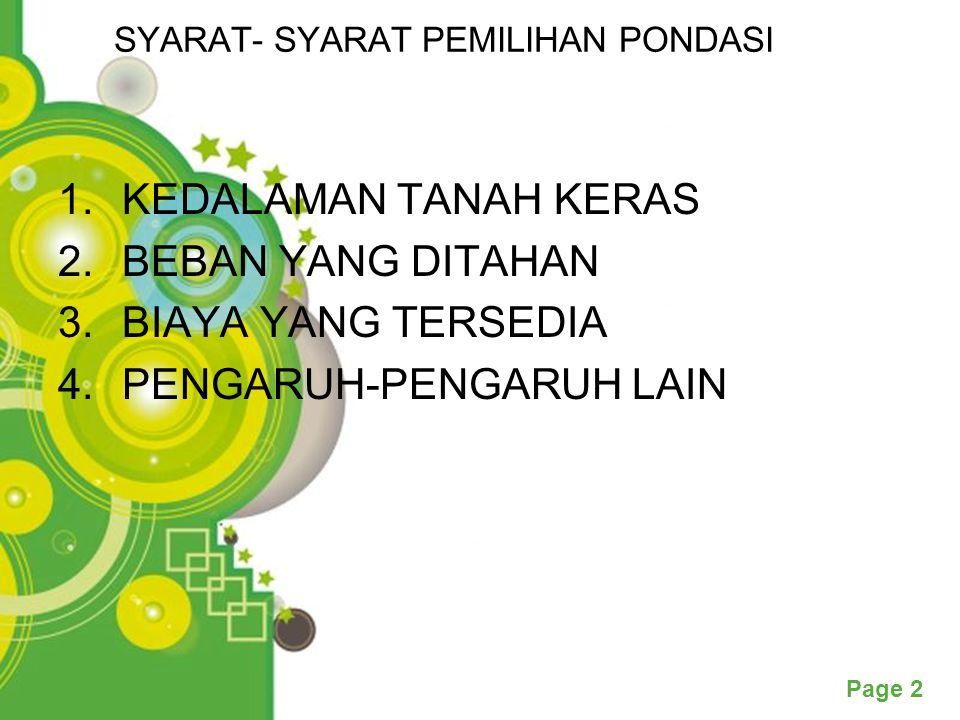 Powerpoint Templates Page 3 PONDASI TELAPAK Lapisan Tanah Keras