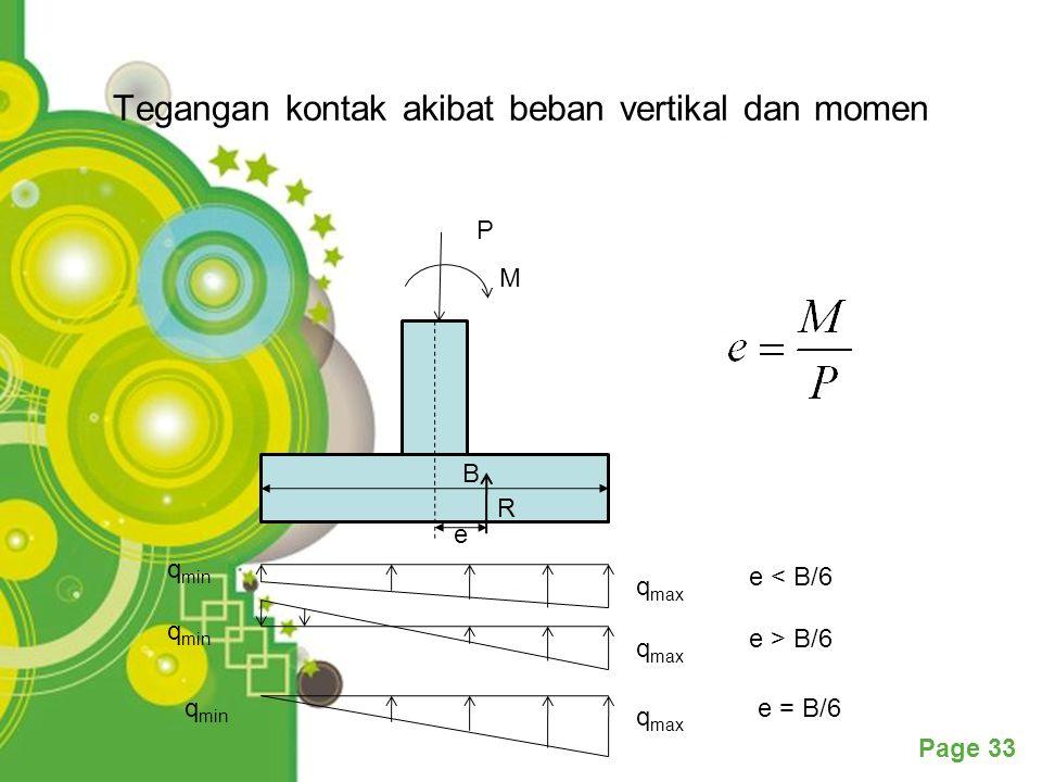 Powerpoint Templates Page 33 Tegangan kontak akibat beban vertikal dan momen P M e = B/6 q max q min e < B/6 q max q min e > B/6 q max q min B e R