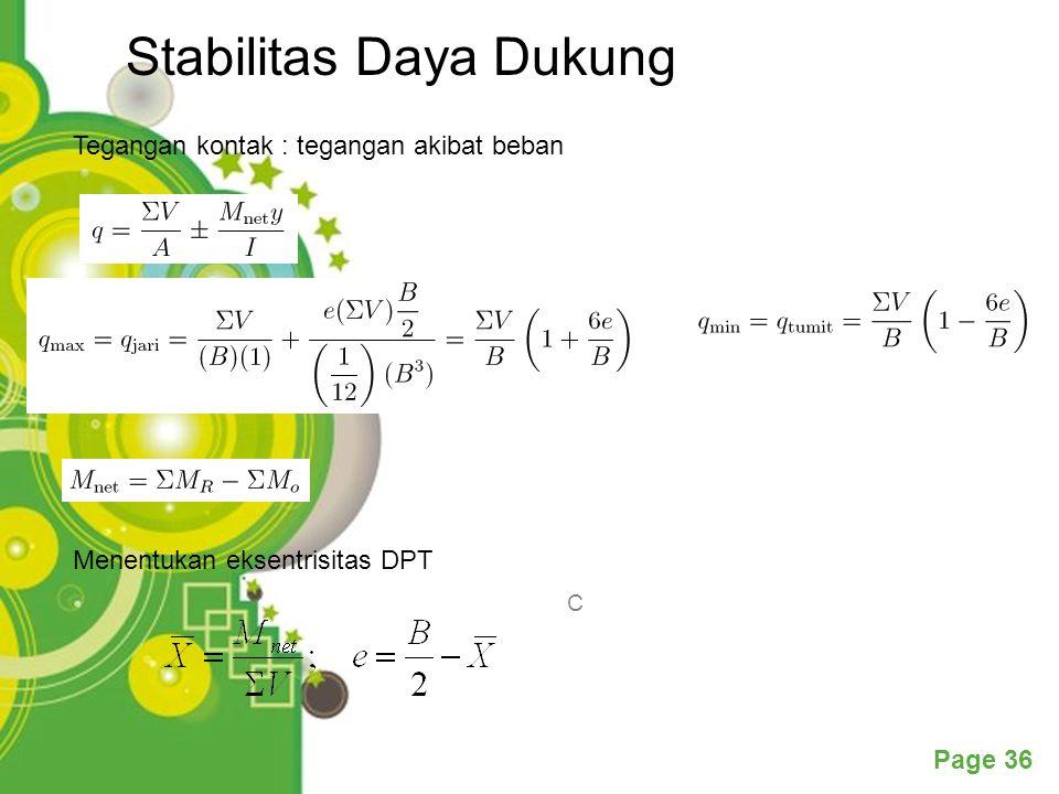 Powerpoint Templates Page 36 Stabilitas Daya Dukung C Tegangan kontak : tegangan akibat beban Menentukan eksentrisitas DPT