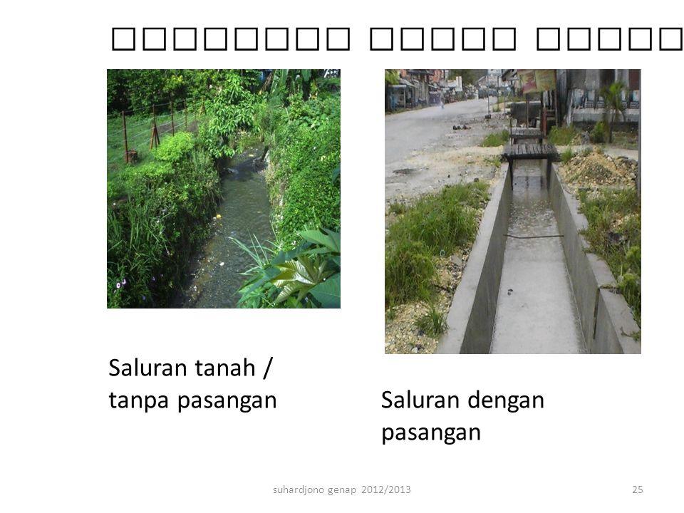 suhardjono genap 2012/201325 Berbagai bahan konstruksinya Saluran tanah / tanpa pasangan Saluran dengan pasangan