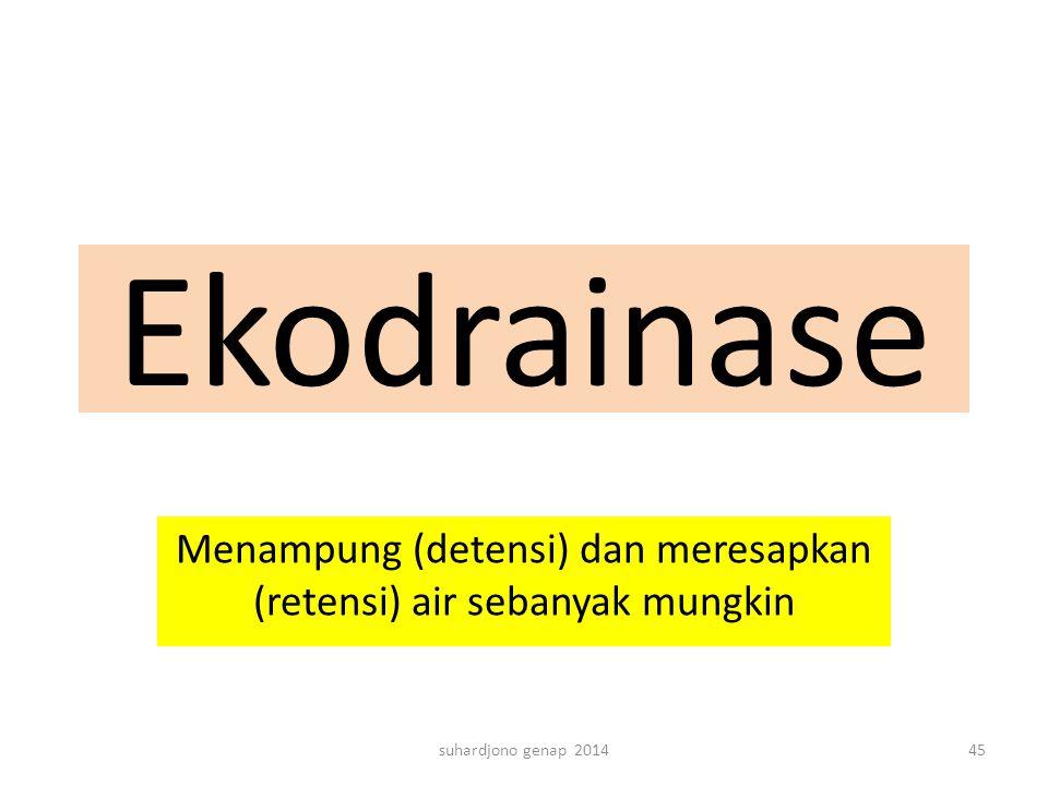 Ekodrainase Menampung (detensi) dan meresapkan (retensi) air sebanyak mungkin suhardjono genap 201445