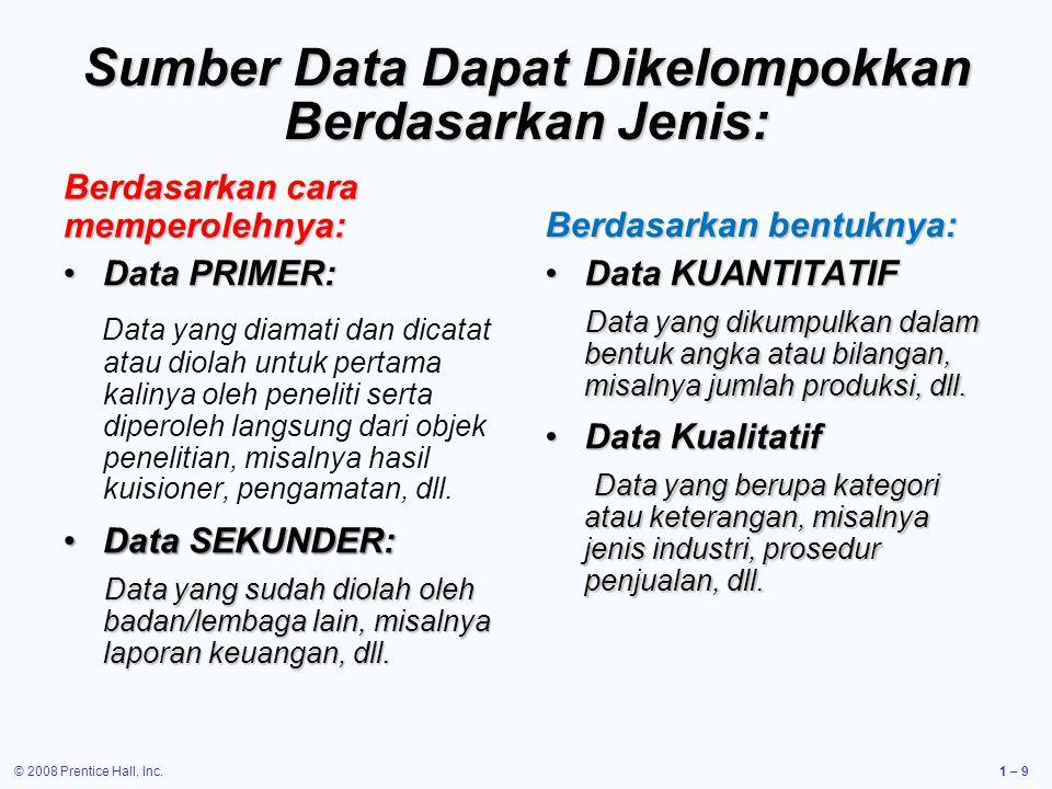 © 2008 Prentice Hall, Inc.1 – 9 Sumber Data Dapat Dikelompokkan Berdasarkan Jenis: Berdasarkan cara memperolehnya: Data PRIMER:Data PRIMER: Data yang diamati dan dicatat atau diolah untuk pertama kalinya oleh peneliti serta diperoleh langsung dari objek penelitian, misalnya hasil kuisioner, pengamatan, dll.