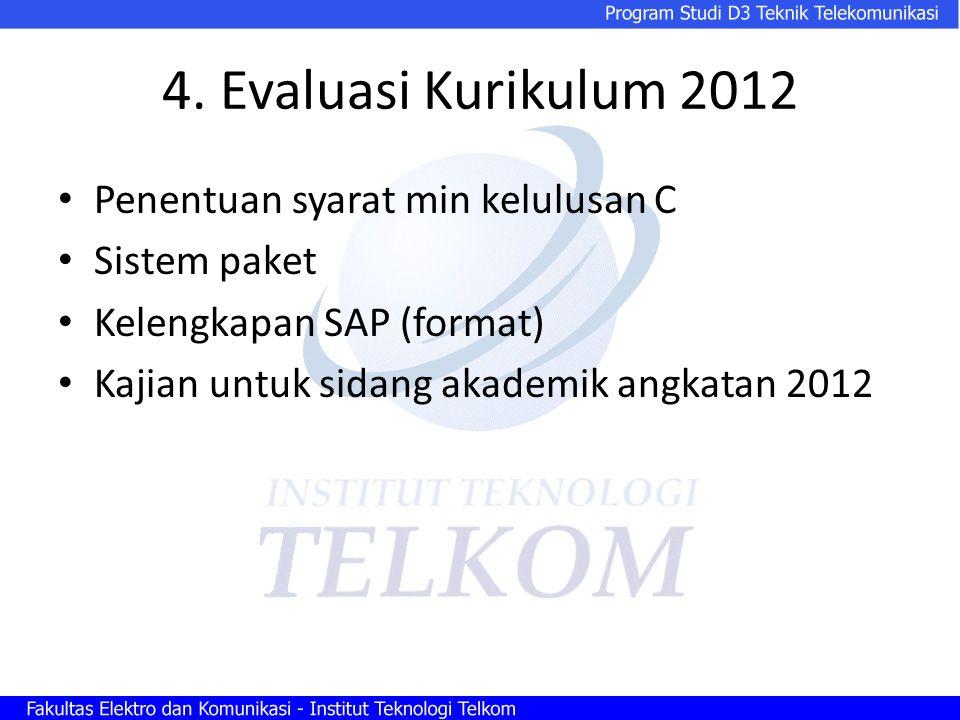 4. Evaluasi Kurikulum 2012 Penentuan syarat min kelulusan C Sistem paket Kelengkapan SAP (format) Kajian untuk sidang akademik angkatan 2012