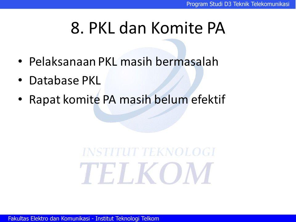 8. PKL dan Komite PA Pelaksanaan PKL masih bermasalah Database PKL Rapat komite PA masih belum efektif