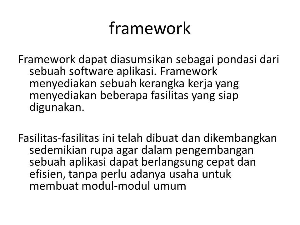 framework Framework dapat diasumsikan sebagai pondasi dari sebuah software aplikasi.