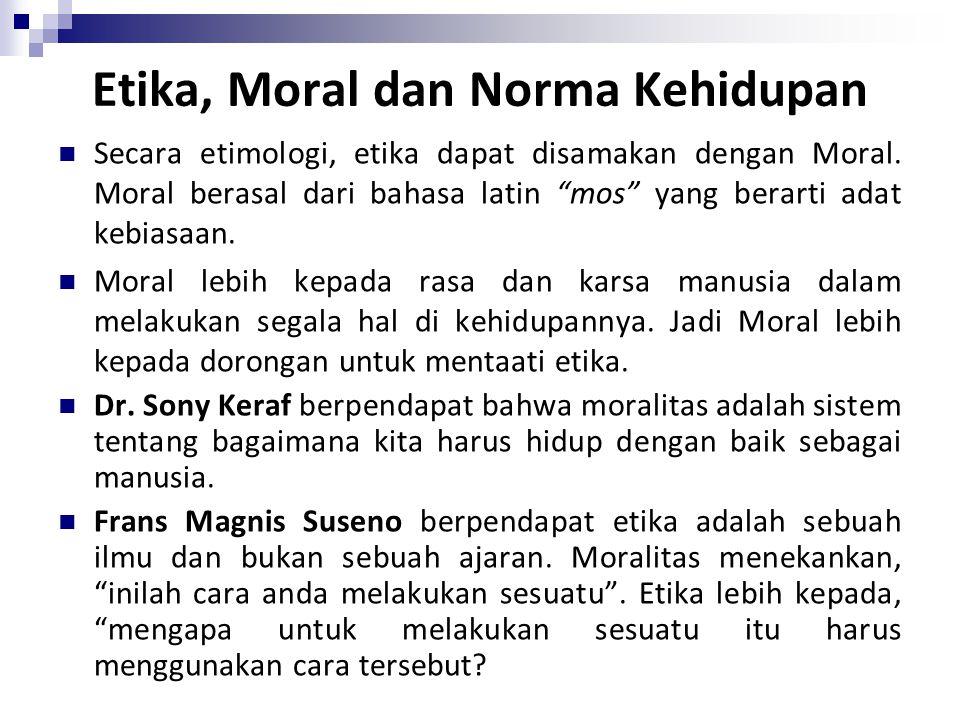 """Etika, Moral dan Norma Kehidupan Secara etimologi, etika dapat disamakan dengan Moral. Moral berasal dari bahasa latin """"mos"""" yang berarti adat kebiasa"""