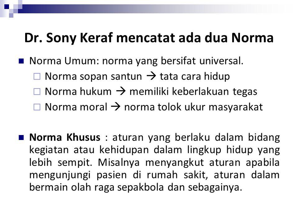 Dr. Sony Keraf mencatat ada dua Norma Norma Umum: norma yang bersifat universal.  Norma sopan santun  tata cara hidup  Norma hukum  memiliki keber