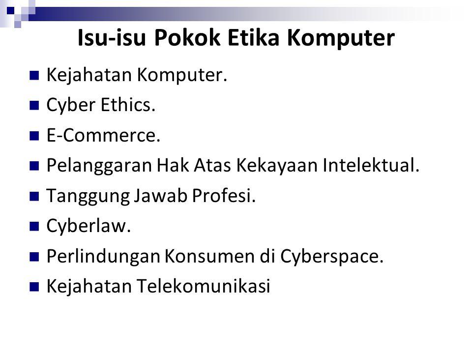 Isu-isu Pokok Etika Komputer Kejahatan Komputer. Cyber Ethics. E-Commerce. Pelanggaran Hak Atas Kekayaan Intelektual. Tanggung Jawab Profesi. Cyberlaw