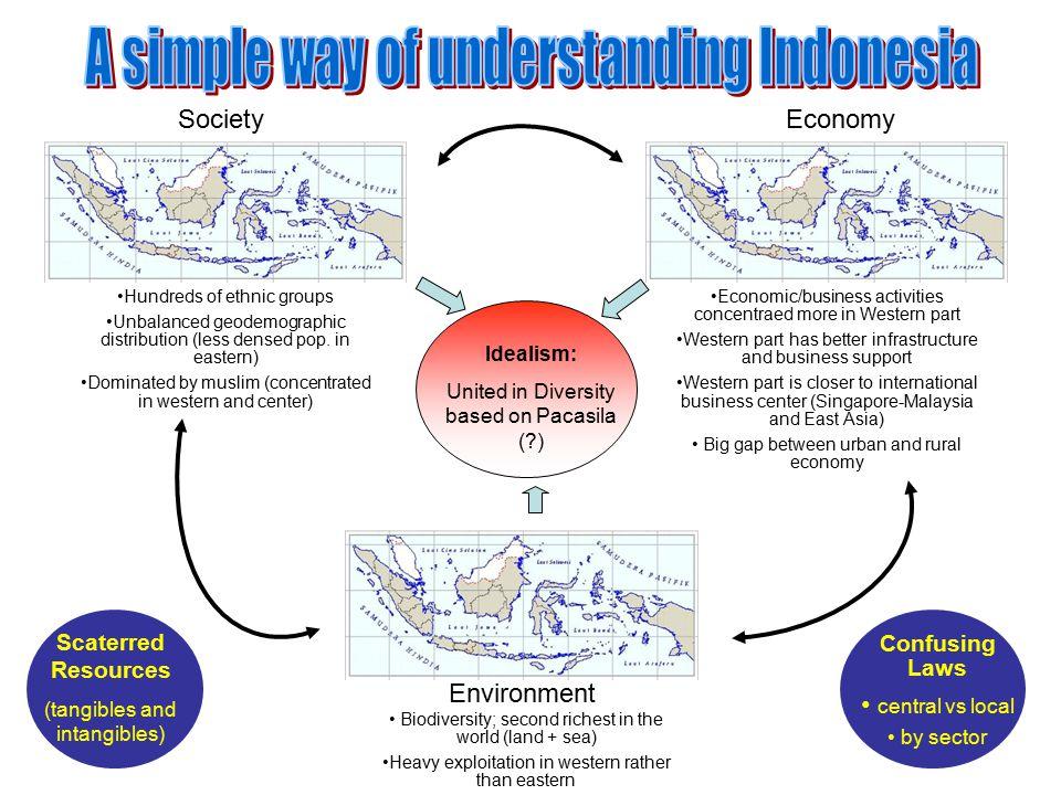 Idealism: United in Diversity based on Pacasila (?) Hundreds of ethnic groups Unbalanced geodemographic distribution (less densed pop.
