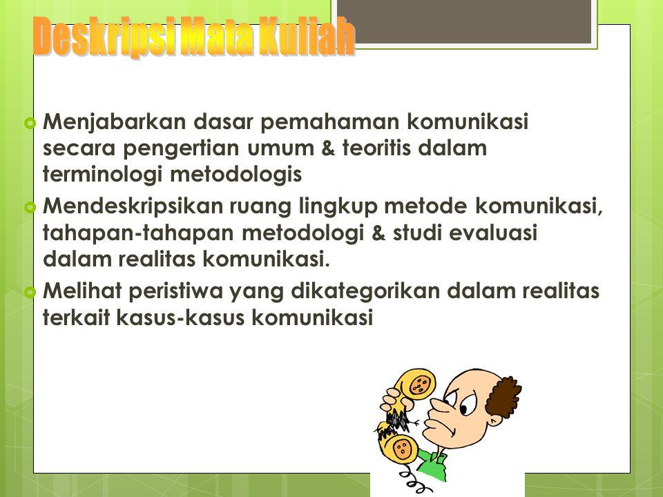  Menjabarkan dasar pemahaman komunikasi secara pengertian umum & teoritis dalam terminologi metodologis  Mendeskripsikan ruang lingkup metode komuni