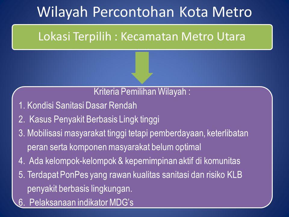Wilayah Percontohan Kota Metro Lokasi Terpilih : Kecamatan Metro Utara Kriteria Pemilihan Wilayah : 1. Kondisi Sanitasi Dasar Rendah 2. Kasus Penyakit