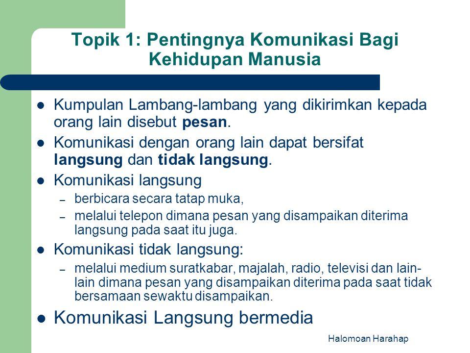 Topik 1: Pentingnya Komunikasi Bagi Kehidupan Manusia Kumpulan Lambang-lambang yang dikirimkan kepada orang lain disebut pesan. Komunikasi dengan oran