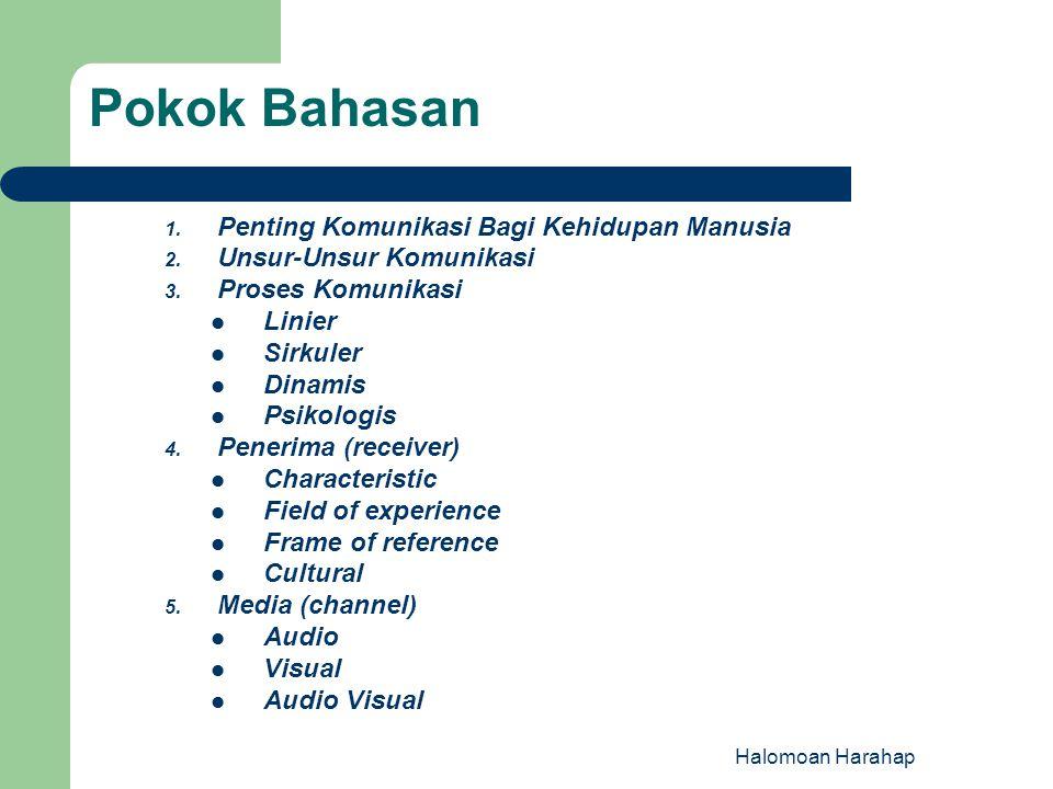 6.Pesan (message) Verbal Non Verbal 7.