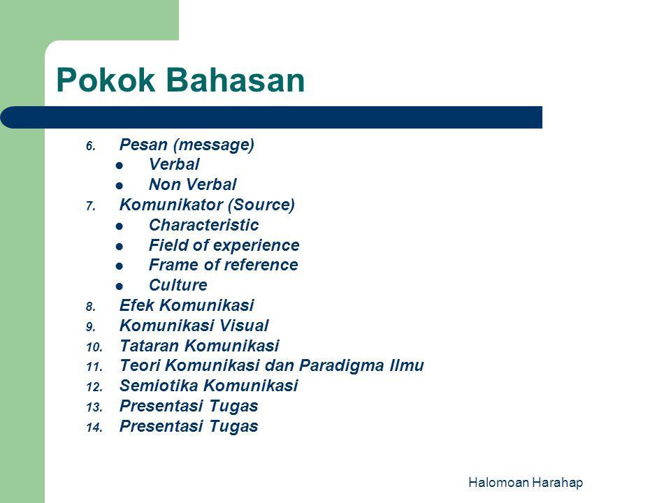6. Pesan (message) Verbal Non Verbal 7. Komunikator (Source) Characteristic Field of experience Frame of reference Culture 8. Efek Komunikasi 9. Komun