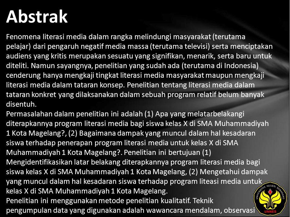 Kata Kunci Media, Literasi Media, Siswa Sekolah Menengah Atas