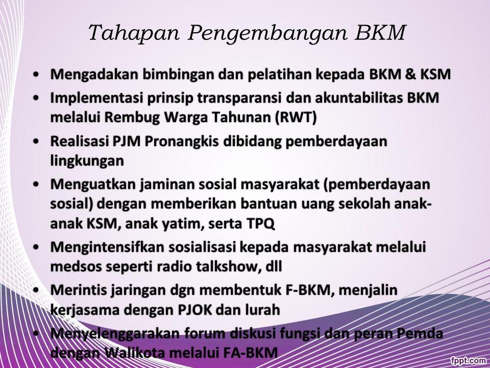 Pada prinsipnya BKM tidak mungkin bekerja sendiri, Harus ada koordinasi dan kerjasama dengan lurah dan lembaga kemasyarakatan kelurahan lainnya -> mem