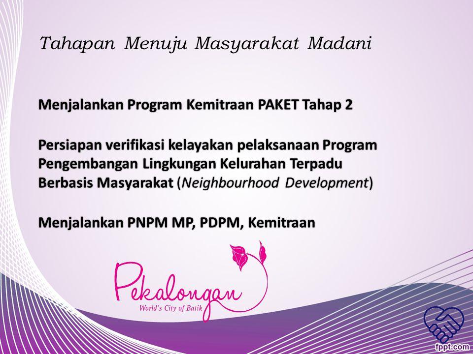 Tahapan Menuju Masyarakat Mandiri Memfasilitasi BKM dalam menjalankan Program Kemitraan PAKET Tahap 1Memfasilitasi BKM dalam menjalankan Program Kemit