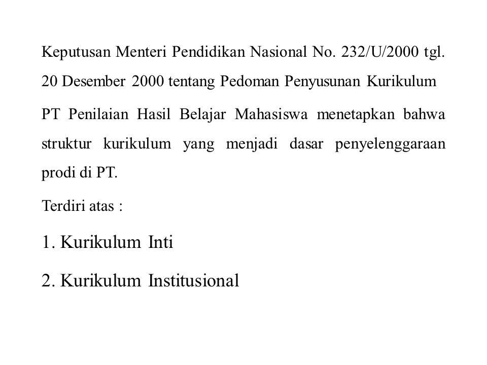 PENDAHULUAN Keputusan Menteri Pendidikan Nasional No. 232/U/2000 tgl. 20 Desember 2000 tentang Pedoman Penyusunan Kurikulum PT Penilaian Hasil Belajar