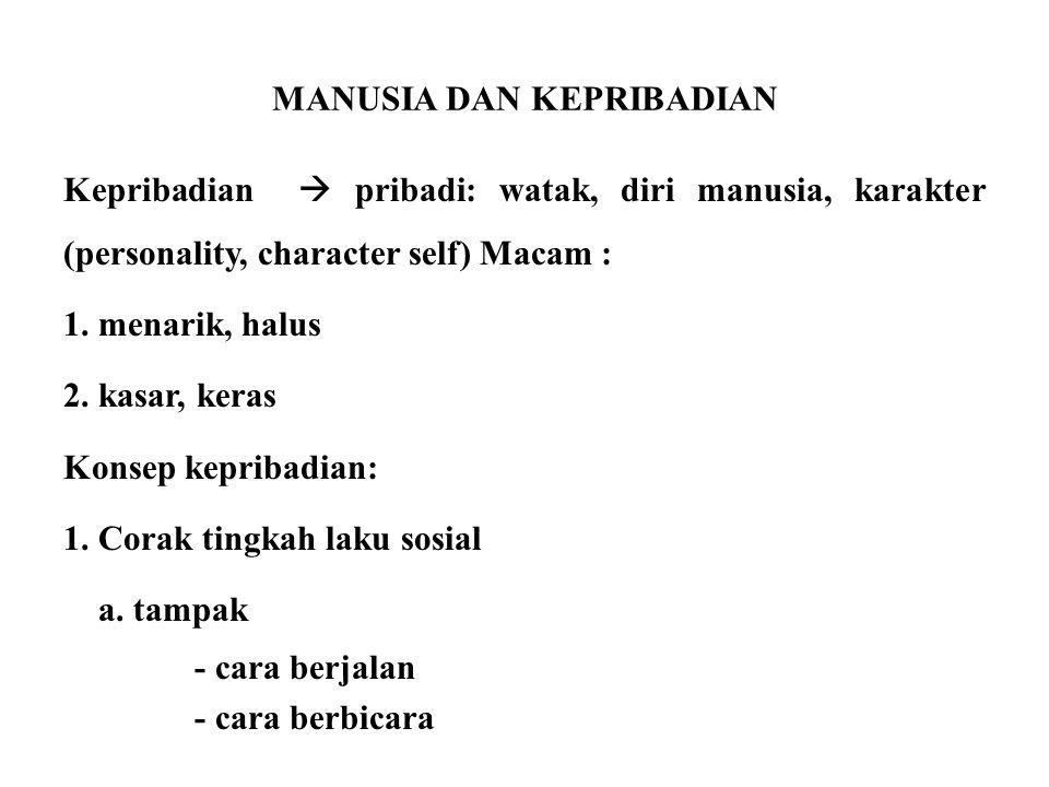 MANUSIA DAN KEPRIBADIAN Kepribadian  pribadi: watak, diri manusia, karakter (personality, character self) Macam : 1. menarik, halus 2. kasar, keras K