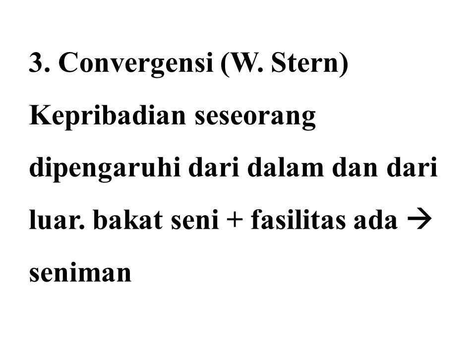 3. Convergensi (W. Stern) Kepribadian seseorang dipengaruhi dari dalam dan dari luar. bakat seni + fasilitas ada  seniman