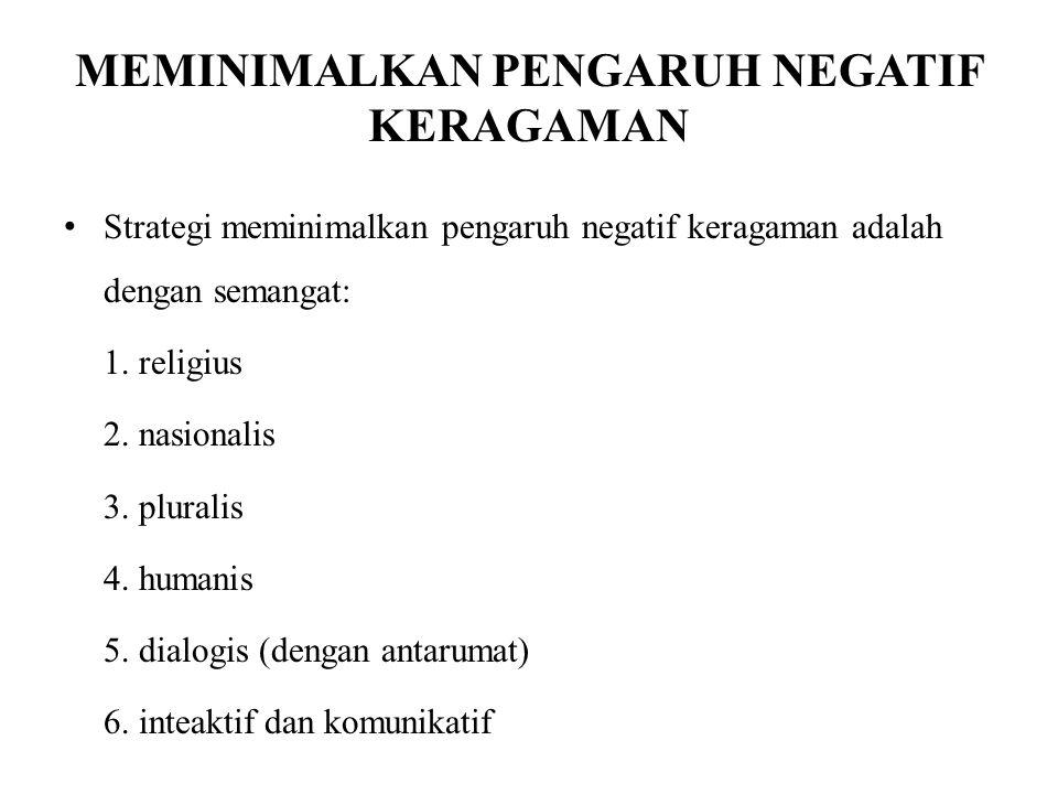 MEMINIMALKAN PENGARUH NEGATIF KERAGAMAN Strategi meminimalkan pengaruh negatif keragaman adalah dengan semangat: 1. religius 2. nasionalis 3. pluralis