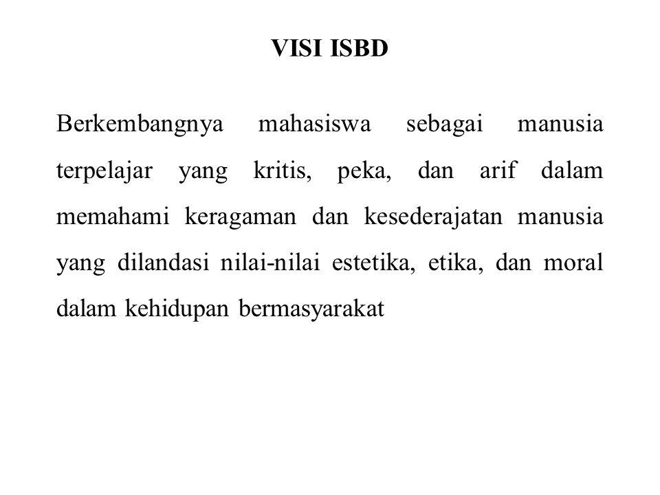 VISI ISBD Berkembangnya mahasiswa sebagai manusia terpelajar yang kritis, peka, dan arif dalam memahami keragaman dan kesederajatan manusia yang dilan