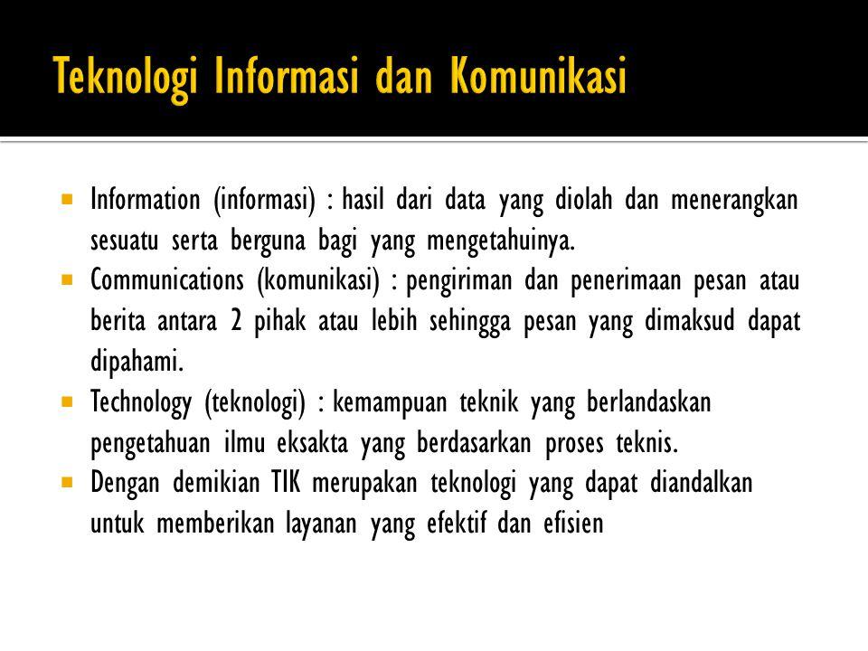  Information (informasi) : hasil dari data yang diolah dan menerangkan sesuatu serta berguna bagi yang mengetahuinya.