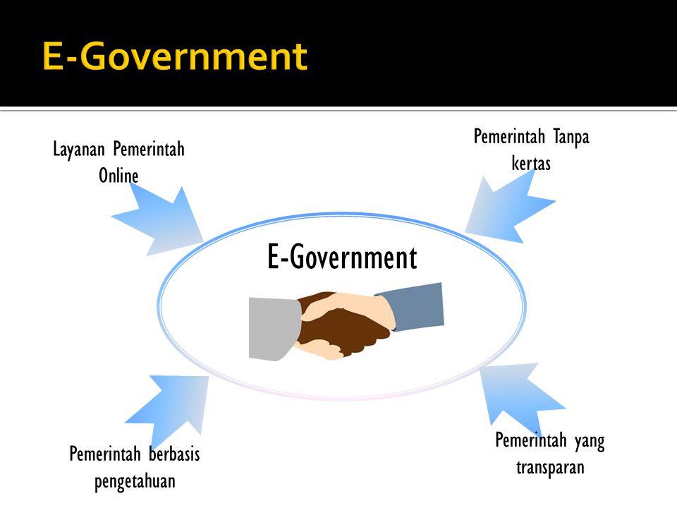 E-Government Layanan Pemerintah Online Pemerintah Tanpa kertas Pemerintah yang transparan Pemerintah berbasis pengetahuan