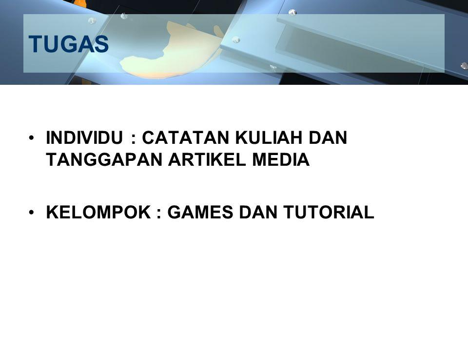 TUGAS INDIVIDU : CATATAN KULIAH DAN TANGGAPAN ARTIKEL MEDIA KELOMPOK : GAMES DAN TUTORIAL
