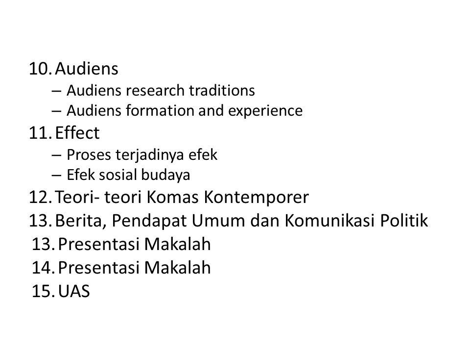 10.Audiens – Audiens research traditions – Audiens formation and experience 11.Effect – Proses terjadinya efek – Efek sosial budaya 12.Teori- teori Ko