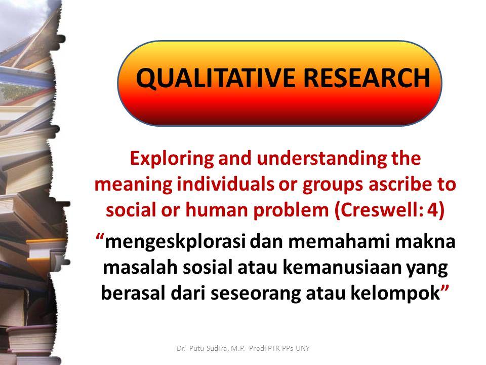 QUALITATIVE RESEARCH Dr.Putu Sudira, M.P.