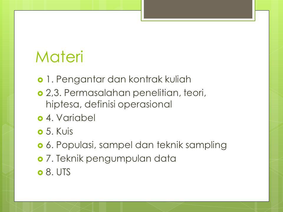 Materi  1. Pengantar dan kontrak kuliah  2,3. Permasalahan penelitian, teori, hiptesa, definisi operasional  4. Variabel  5. Kuis  6. Populasi, s