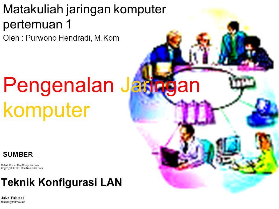 Pengenalan Jaringan komputer Matakuliah jaringan komputer pertemuan 1 Oleh : Purwono Hendradi, M.Kom SUMBER
