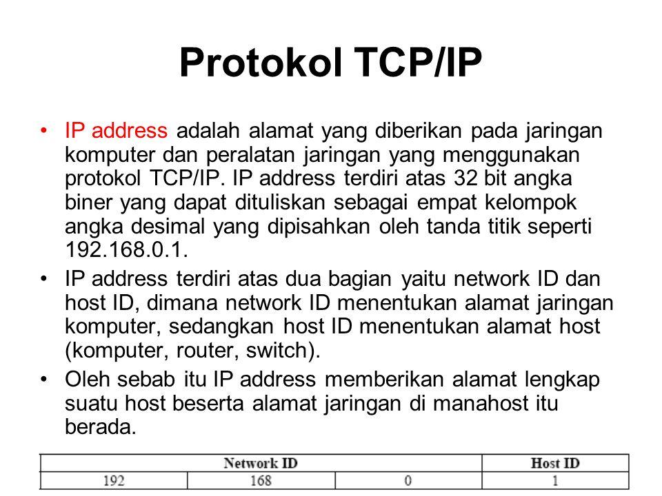 Protokol TCP/IP IP address adalah alamat yang diberikan pada jaringan komputer dan peralatan jaringan yang menggunakan protokol TCP/IP. IP address ter