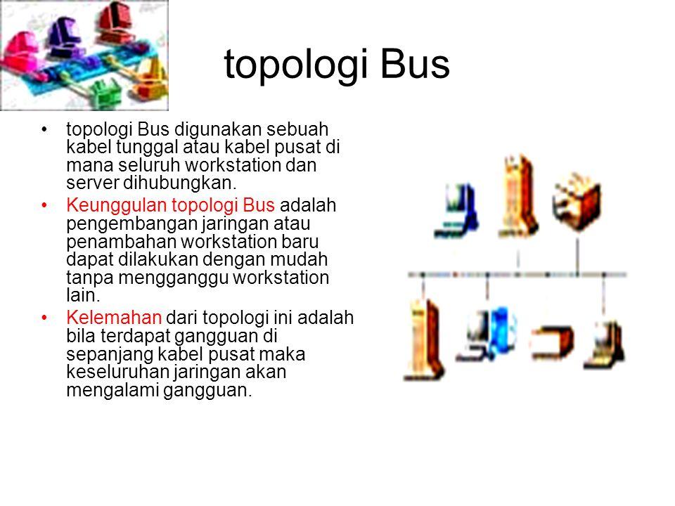 topologi Bus topologi Bus digunakan sebuah kabel tunggal atau kabel pusat di mana seluruh workstation dan server dihubungkan. Keunggulan topologi Bus