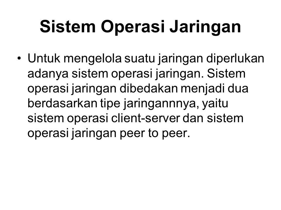 Sistem Operasi Jaringan Untuk mengelola suatu jaringan diperlukan adanya sistem operasi jaringan. Sistem operasi jaringan dibedakan menjadi dua berdas