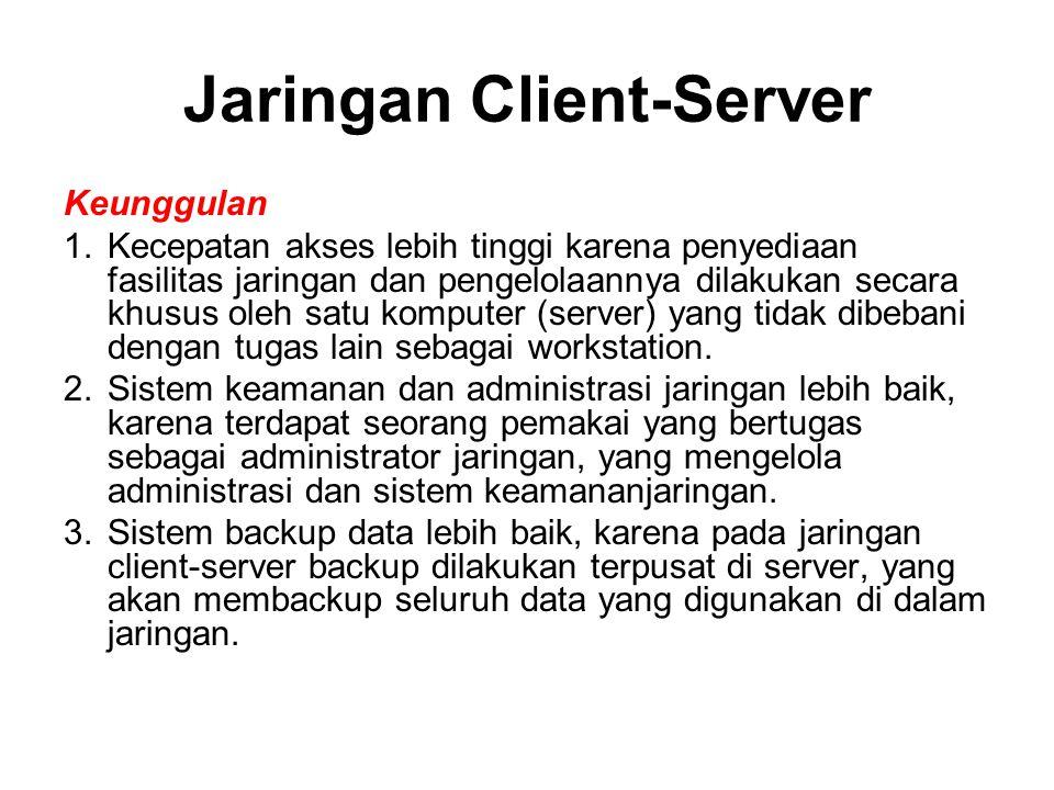 Jaringan Client-Server Keunggulan 1.Kecepatan akses lebih tinggi karena penyediaan fasilitas jaringan dan pengelolaannya dilakukan secara khusus oleh