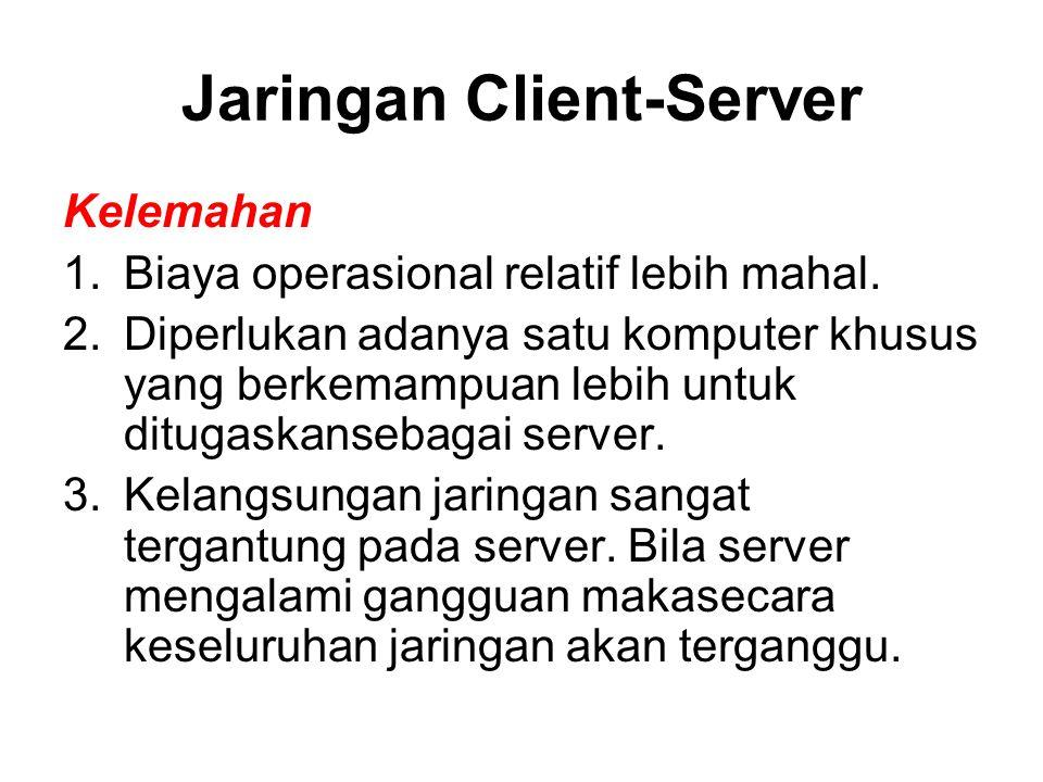 Jaringan Client-Server Kelemahan 1.Biaya operasional relatif lebih mahal. 2.Diperlukan adanya satu komputer khusus yang berkemampuan lebih untuk ditug