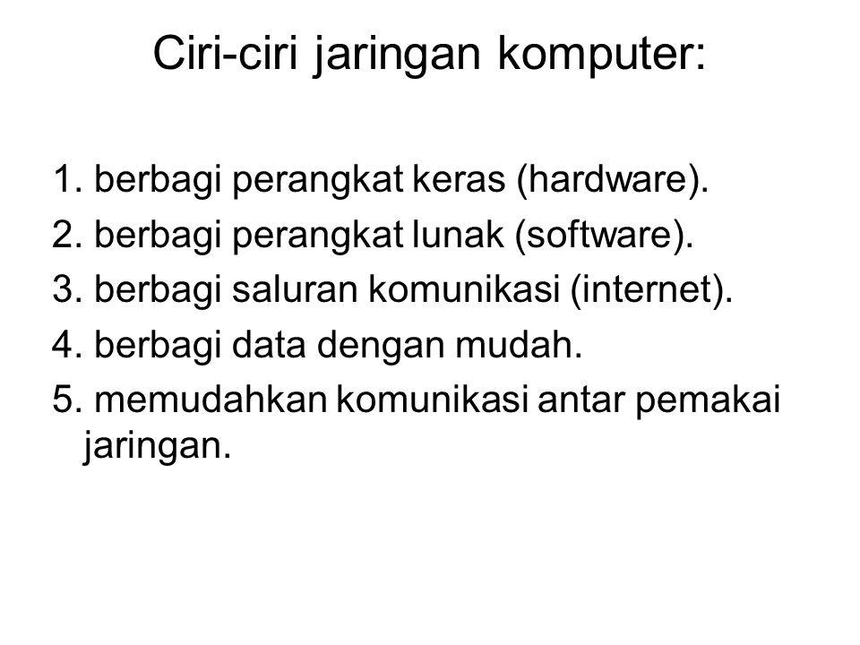 Ciri-ciri jaringan komputer: 1. berbagi perangkat keras (hardware). 2. berbagi perangkat lunak (software). 3. berbagi saluran komunikasi (internet). 4