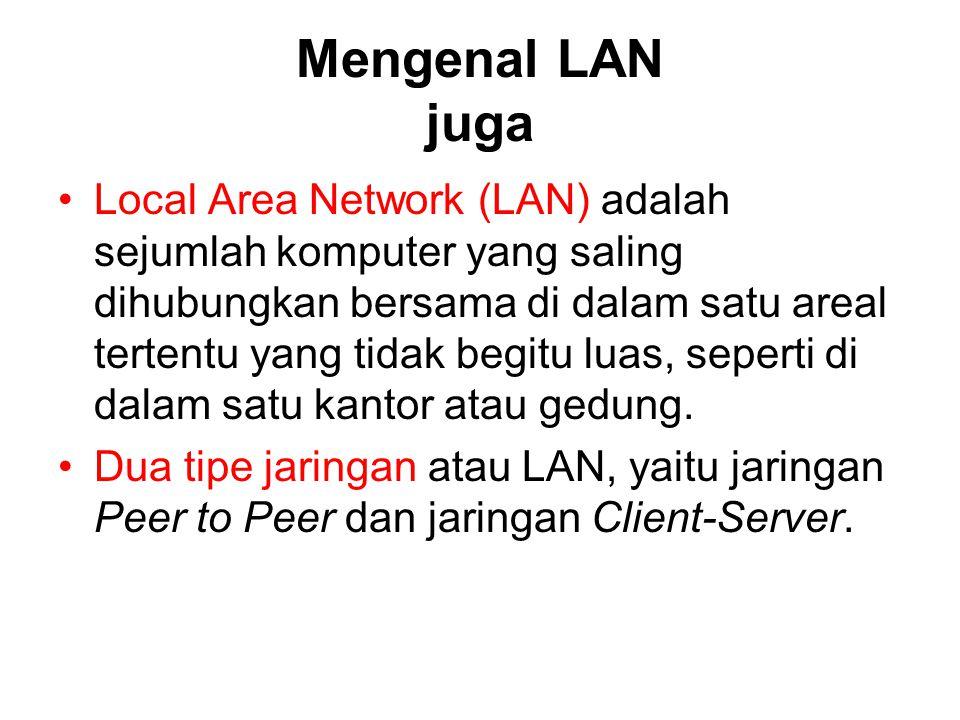 Mengenal LAN juga Local Area Network (LAN) adalah sejumlah komputer yang saling dihubungkan bersama di dalam satu areal tertentu yang tidak begitu lua