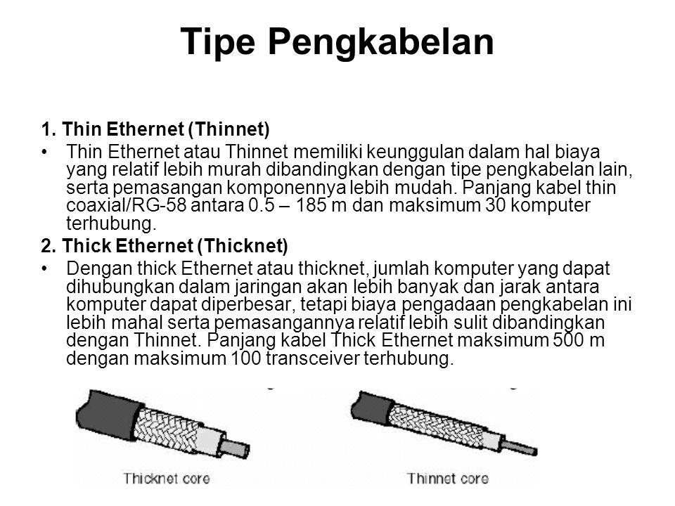 Tipe Pengkabelan 1. Thin Ethernet (Thinnet) Thin Ethernet atau Thinnet memiliki keunggulan dalam hal biaya yang relatif lebih murah dibandingkan denga